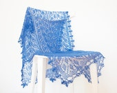 Sapphire Blue Lace Shawl, Hand Knitted Silk Mohair Lace Wrap Shawl - RESERVED for Mary-Margaret