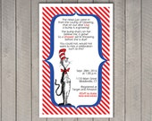 Dr. Seuss Invitation - Baby Shower - personalized - Cat in the Hat - Thing 1 and Thing 2 - Horton - New Fish