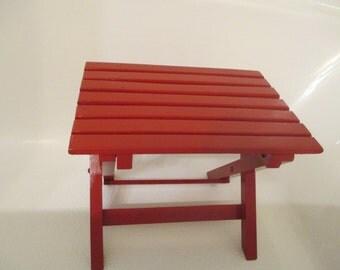 Vintage Slatted Red Painted Wood Stool - Folds Up