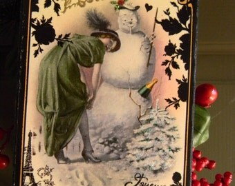 Joyeux Noel Christmas Holiday Flapper Snowman Winter Scene French Double-sided Decorative Plaque Holiday Decoration