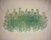 c1860-1920 Group of 38 Cork Top Mixed Aqua Glass Medicine, Food and Beverage Bottles Great for Wedding Decor Lot No. 1
