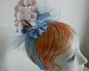 Gingham Blue Headband with Vintage Millinery Flower Trim with Blue Net Bow