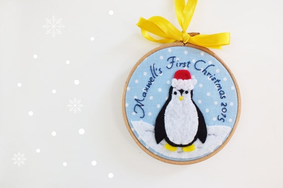 Items similar to baby 39 s first christmas ornament for Baby s first christmas decoration