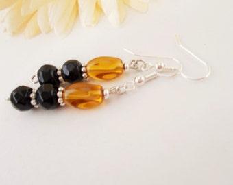 Topaz Glass Earrings, Czech Glass Earrings, Black Earrings, Dangle Earrings, Black and Tan Earrings, Boho Black Beaded Earrings