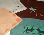 Lot of 4 Vintage Hankies Scotty Dogs Floral Applique