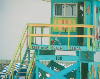 Beach Photography - Lifeguard Stand Photography  - Miami Beach Photography - Pastel Colors - Cottage Decor, Shabby Chic
