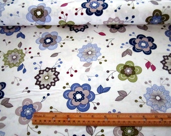 Monterey Periwinkle and Olive Foral on White premium cotton fabric from Quilting Treasures