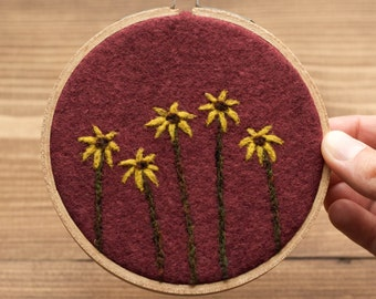 "Needle Felted Hoop Art, Black Eyed Susans, Yellow Flowers, Floral, 4"" Hoop, Wall Hanging, For the Gardener, Gift for Her, Floral Art"