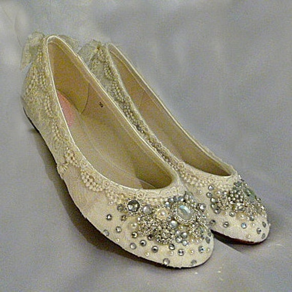Twinkle Toes Ballet Flats ..  vintage lace and Swarovski crystals...FREE Postage within the USA