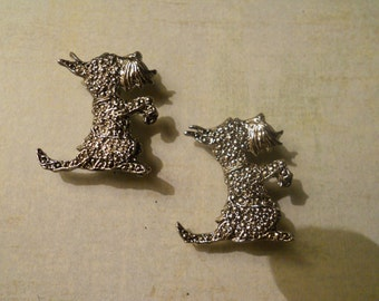 For All Scottie and Dog Lovers ~ Pair of Sweet Silver Scottie Dog Brooch Pins ~ Marcasite Style