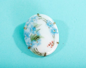 Antique Early 1900s Porcelain Brooch - Hand Painted Forget Me Nots - Bridal Fashions