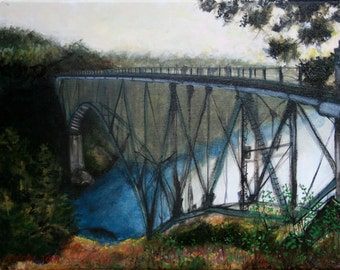 Bridge: Limited Edition Giclee print of original oil painting on stretched canvas