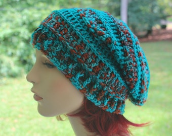 Slouchy Spring Fall Winter Beanie Beret Toque Womens Textured Stitch Hat Oversized Tam Marine Teal Original Design High Fashion