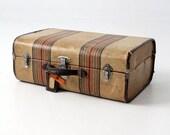 SALE vintage striped suitcase, 1940s luggage