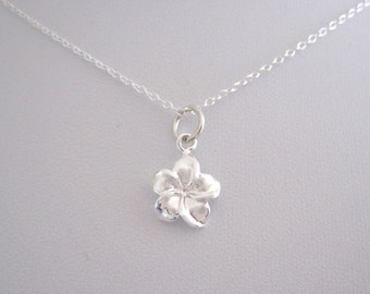 Tropical FRANGIPANI PLUMERIA FLOWER small sterling silver charm with chain necklace