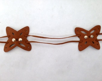"""1 Faux Belt Butterfly Suede Medium Brown 43"""" Total Length"""