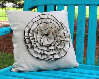 """Oatmeal Linen Ruffle Flower Pillow Cover 18"""""""