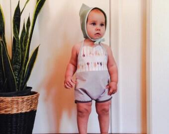 ARROW BABY ROMPER gray toddler hipster girl romper 12-18 mo