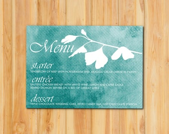 Watercolor Wedding Menu 50qty, Blue Wedding Event Reception Menu, Personalized Wedding Table Setting Custom Designed