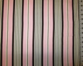 """Michael Miller Banded Ticking Stripe Pink and Brown fabric 21"""" X 42"""""""