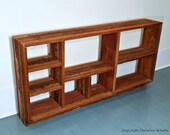 Barnwood Bookshelf Handmade Reclaimed Wood OOAK Display Shelves Shabby Chic Red Paint