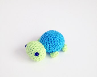 Crochet Tiny Turtle - Blue and Lime Green