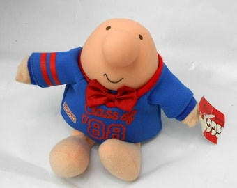 Vintage ZIGGY stuffed toy Class of 1987 Graduation gift 1988 graduation with tags stuffed toy Ziggy red and blue and red