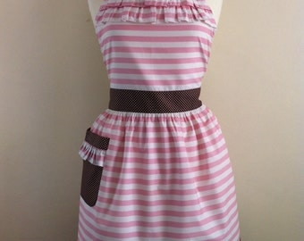 Retro apron with ruffles, pink and white stripey fabric, fully lined.