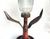 Salvaged Metal Tulip Lamp