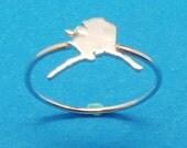 Small Dainty Silver Alaska State Ring - Alaska Jewelry - State Jewelry - Map Jewelry - Midi Stackable Stacking Ring - Minimalist Ring