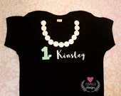 Pearl Necklace Personalized with Name and Age Tiffany Blue Little Black Dress