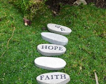 Fairy Garden Stepping Stones, Miniature Garden Stepping Stones, Fairy Garden Decor, Faith Hope Love
