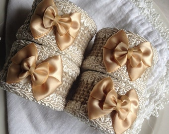 Fabric Napkin Rings Beige & Gold Satin Bow Tie Hand Crafted Set 4 Handcrafted ~ #51