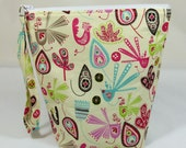 Knitting Project Bag - Small Zipper Wedge Bag in Bright Bird Fabric with Aqua Polka Dot Lining