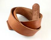 "Saddle Tan Handmade Leather Belt Strap - Size Medium = 34"" to 36"" - Made by Paradise Leathers"