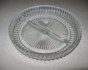 Queen Mary Crystal Divided Candy Nut Dish Anchor Hocking Glass Co  1936-1946