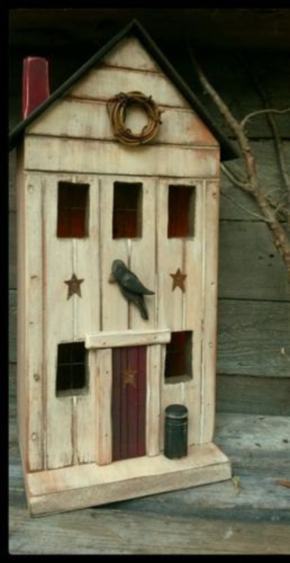 Primitive Birdhouse Primitive Farmhouse Primitive Crow