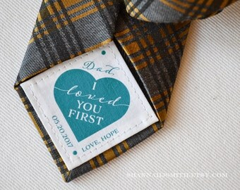 Father of the Bride Tie Patch • Personalized Dad Gift • Gift for Dad • I Loved You First • Suit Label