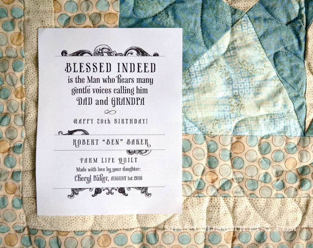 Quilt Label for Dad Grandpa Personalized Birthday Blanket