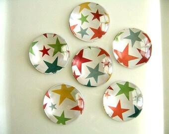 Muti Colors Stars Round Glass Magnet, Stars Fridge Magnet, Stars Round Magnet - 6 PCS