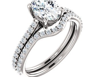Forever Brilliant Moissanite Oval  8x6mm 14K White Gold Engagement Ring Set, Bridal Set - ST82710 (Other metals and stone options available)