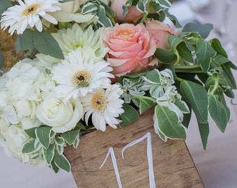 Hand Drawn Wood Table Numbers for Weddings + Events