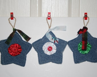 Denim StarsWith Yoyo's and Buttons set of 3 Christmas ornaments banner decorations twine loop