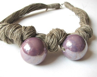 Lavender Ceramic - linen necklace