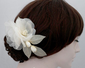 Pure Silk Organza Wedding Head Piece, Bridal Hair Piece, Wedding Hair Accessories, Bridal Hairpiece, Wedding Hairpiece, Flower Hair Piece