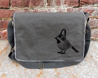 Bird With Headphones Messenger Bag - Screen Printed Cotton Canvas Messenger