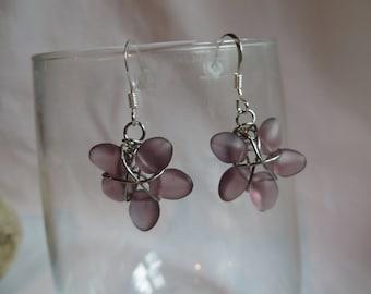 Purple Flower Earrings, Earrings, Purple, Dangle