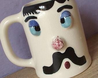 Vintage 1950's Pfaltzgraff Mugsy Cock-eyed charlie mug, beer mug, Gag gift, Retro barware, Mid Century Gift for dad Collectible ceramic mug
