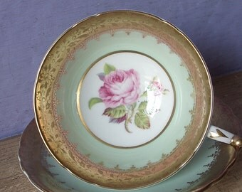 Vintage Paragon pink rose tea cup and saucer, English tea cup, Pale green tea cup, Green and gold tea cup, Bone china teacup, antique teacup