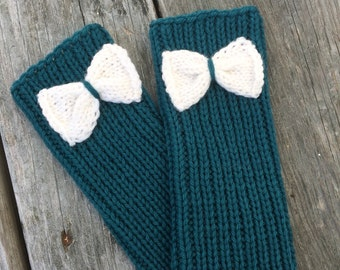 Clearance, Bow Gloves, Bow Fingerless, Knit Gloves, Knit Gloves with Bow, Fingerless Gloves, Texting Gloves, Womens Gift